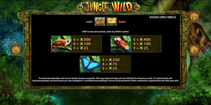Jungle Wild Mittlere Gewinnsymbole