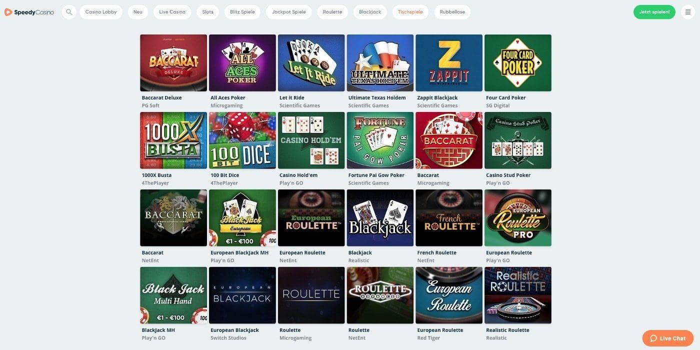 Tischspiele Speedy Casino
