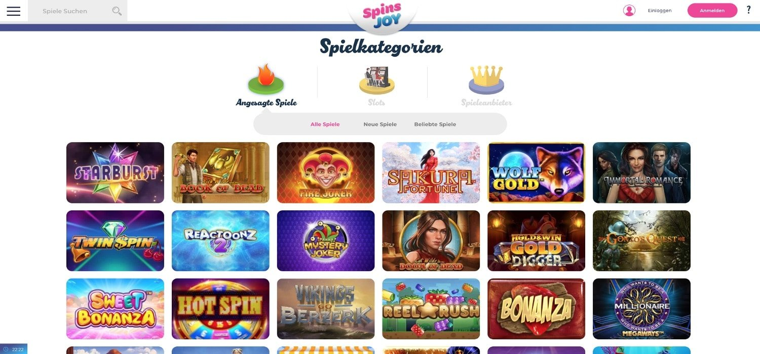 Alle Spiele Spins Joy Casino