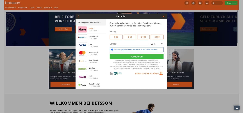 Einzahlen Betsson Casino