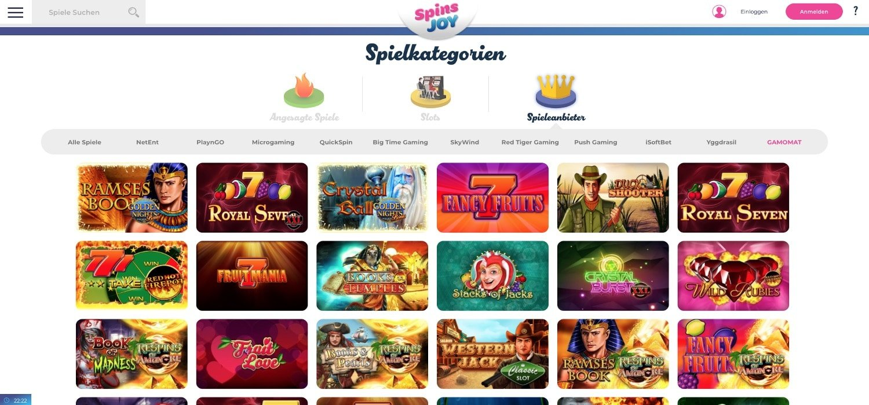 Gamomat Spins Joy Casino
