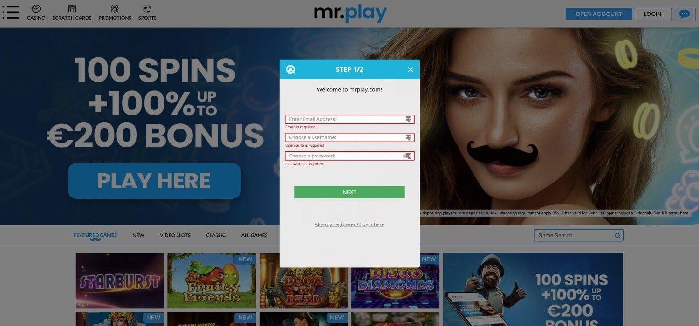 Registrierung Mr Play Casino