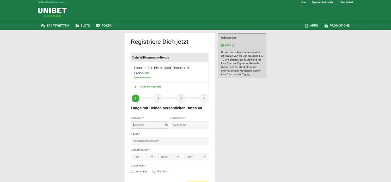 Registrierung Unibet Casino