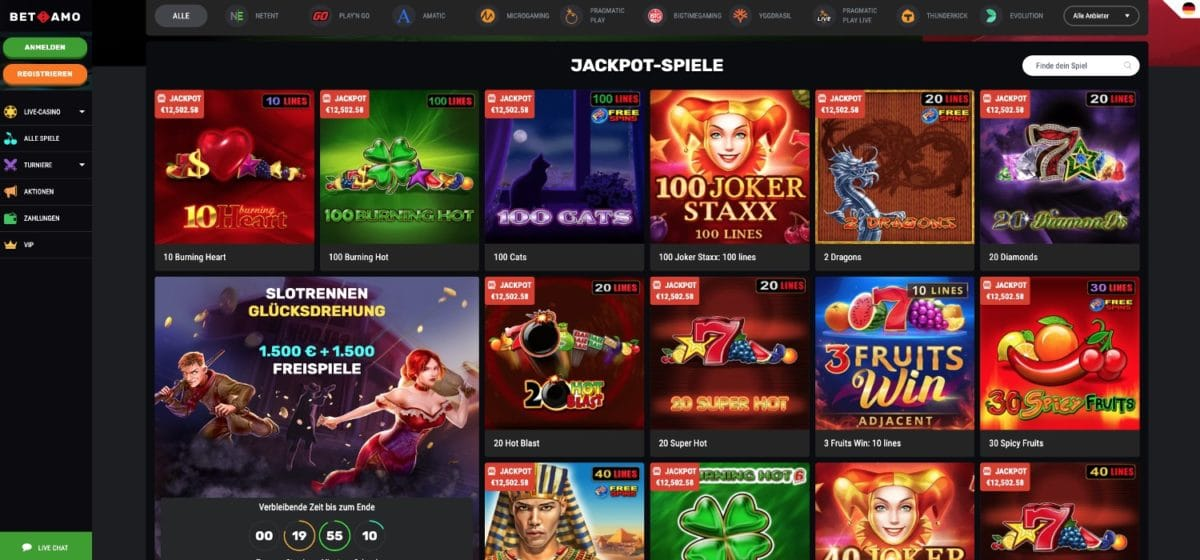Betamo Casino Jackpots
