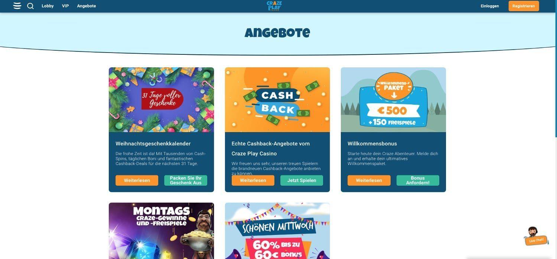 Crazeplay Casino Aktionen