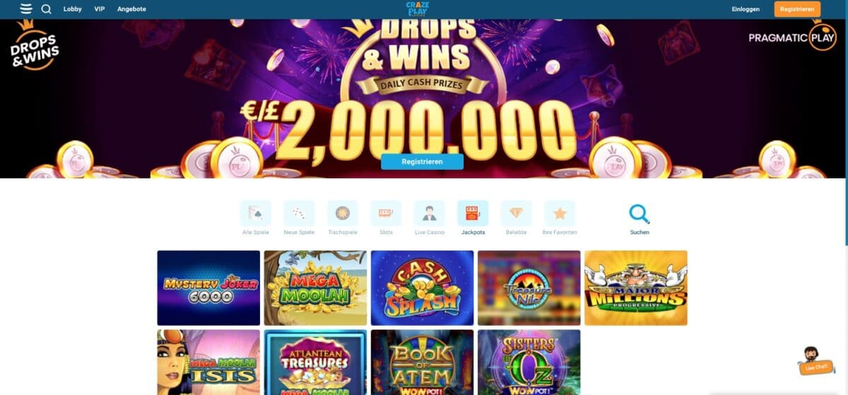 Crazeplay Casino Jackpots