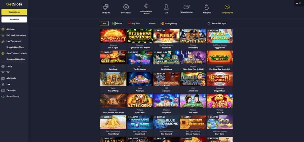 GetSlots Casino Jackpots