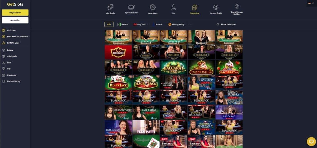 GetSlots Casino Tischspiele