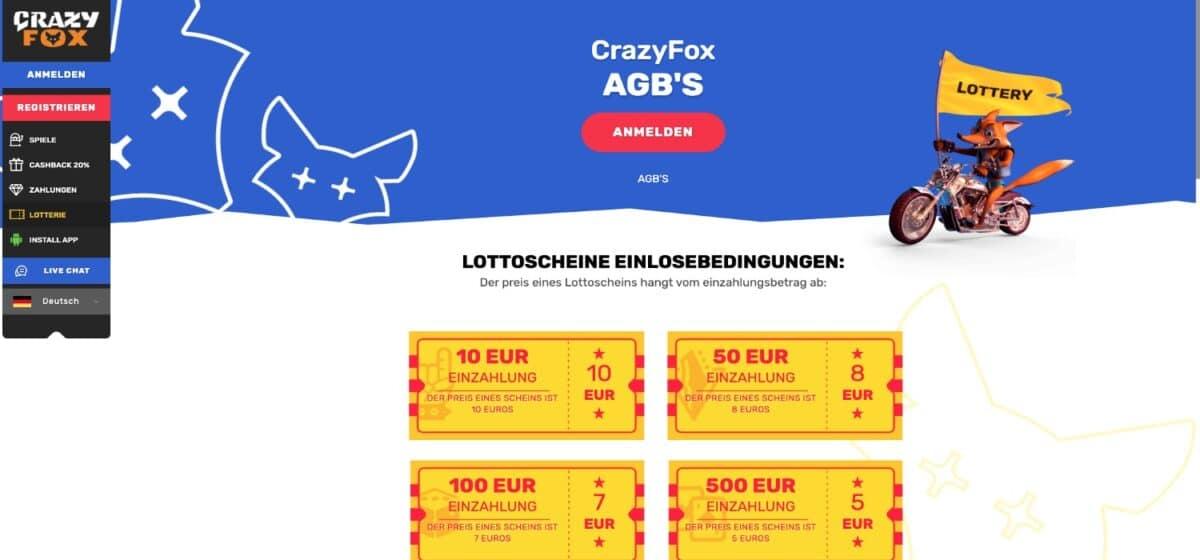 Crazy Fox Casino Lotterie