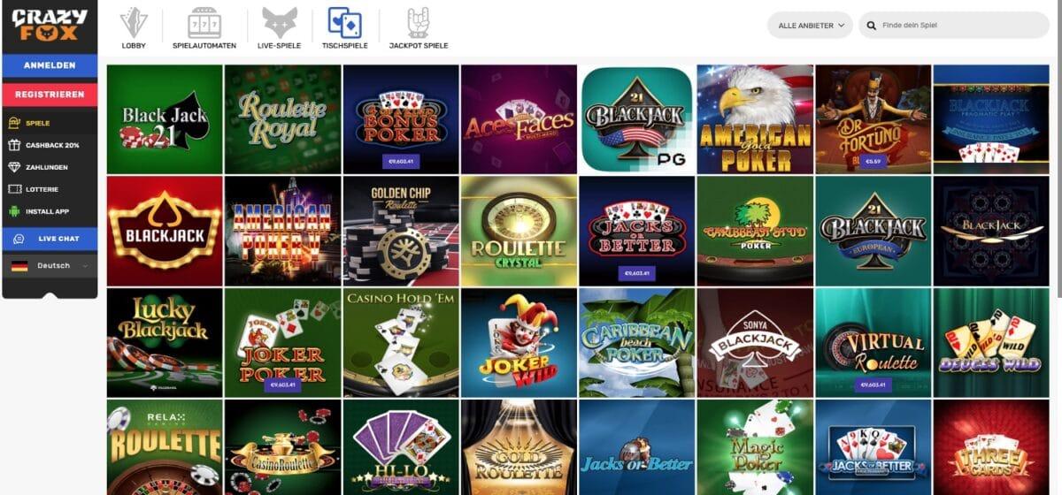Crazy Fox Casino Tischspiele