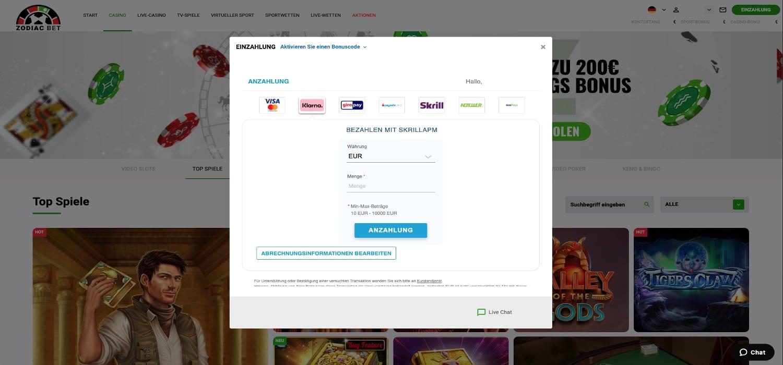 Zodiac Bet Casino Einzahlen