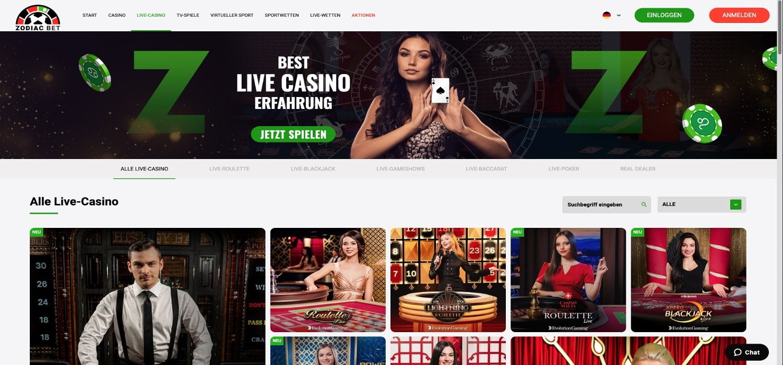 Zodiac Bet Casino Live