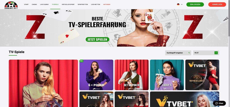Zodiac Bet Casino TV Spiele