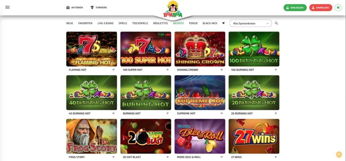 BoaBoa Casino Jackpots