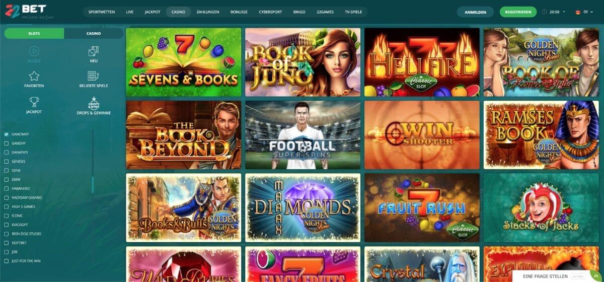 22Bet Casino Gamomat