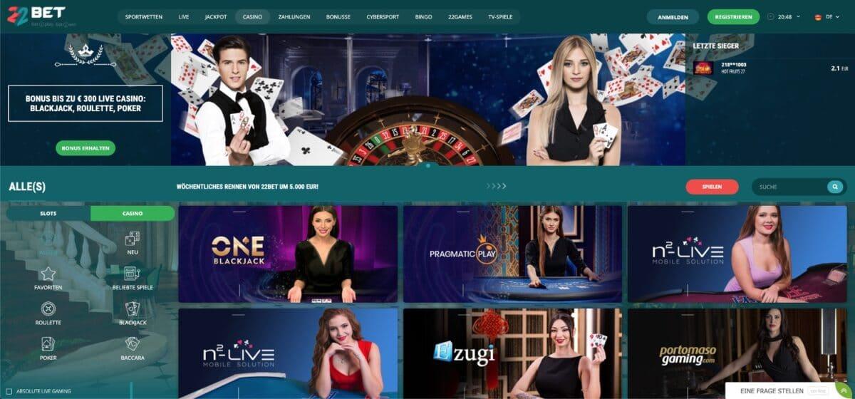 22Bet Live-Casino