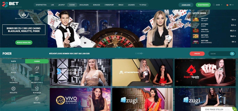 22Bet Casino Poker